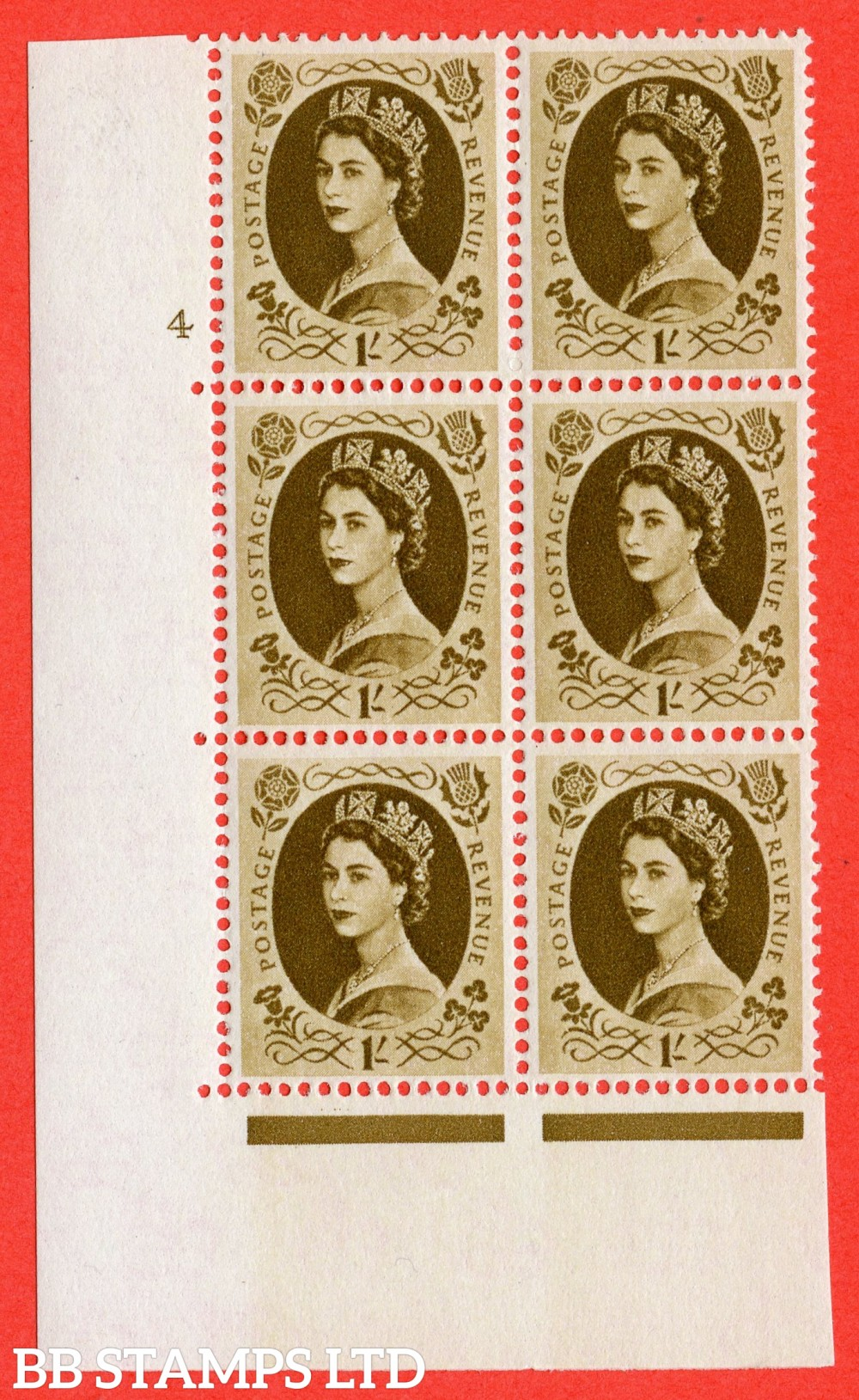"SG. 584. S139. 1s Bistre-brown. A superb UNMOUNTED MINT "" cylinder 4 no dot "" control block of 6 with perf type A E/I. WHITE paper."