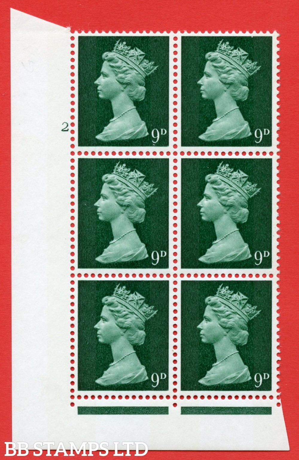 "SG. 740. U22. 9d myrtle green  A superb UNMOUNTED MINT "" cylinder 2 no dot "" control block of 6 with perf type A (E/I). gum arabic. Head A."