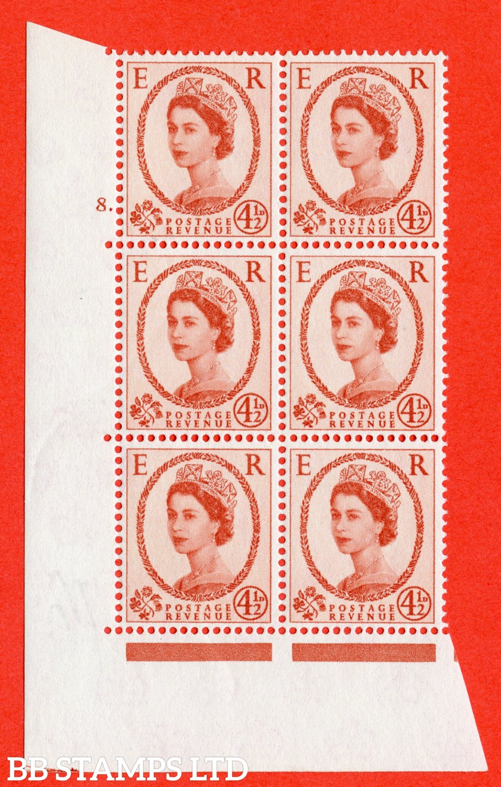 "SG. 577. S94. 5d Chestnut. A fine lightly mounted mint "" cylinder 7 dot "" control block of 6 with perf type A E/I. WHITE paper."