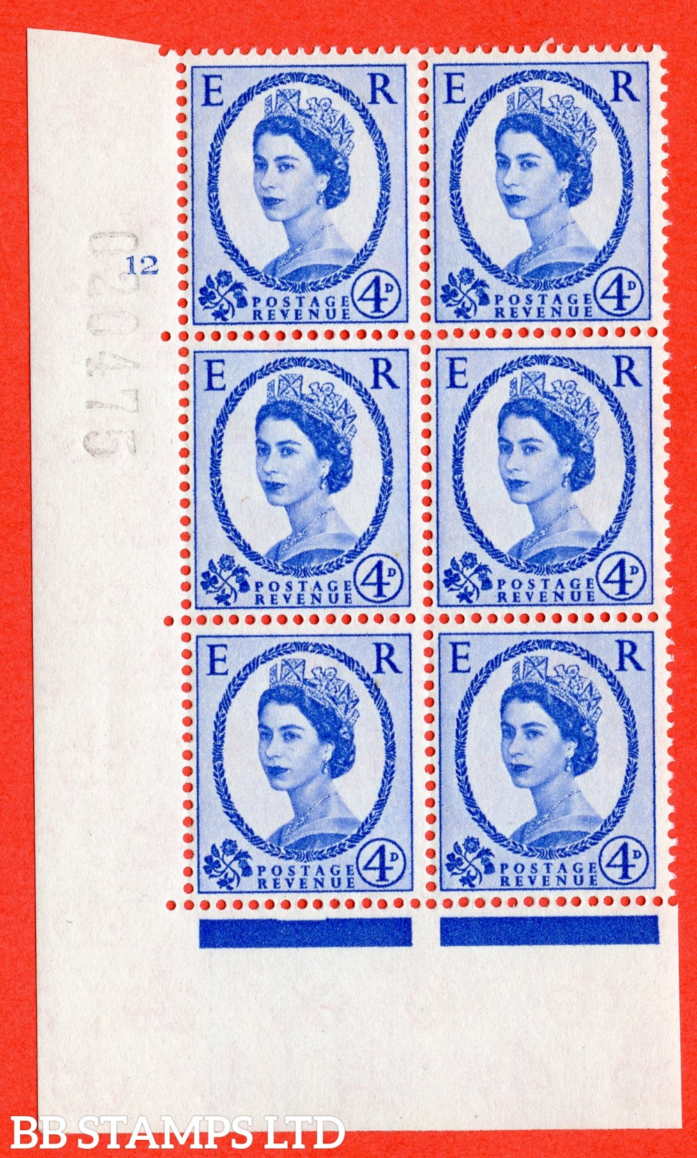 "SG. 576a. S85. 4d Deep Ultramarine. A fine lightly mounted mint "" cylinder 12 no dot "" control block of 6 with perf type A E/I. WHITE paper."