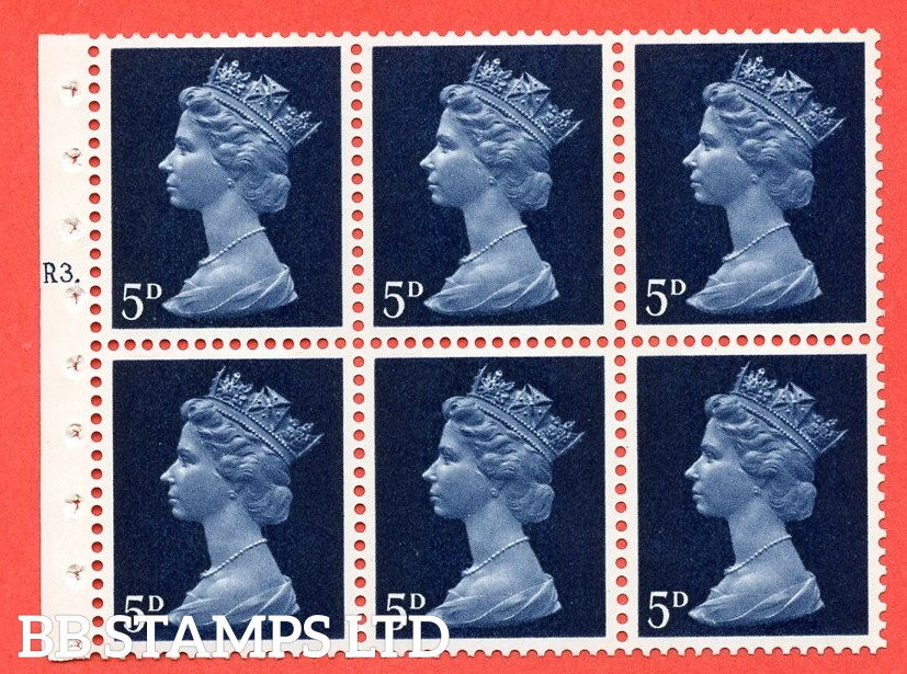 UB19 5d 2 Bands. UNMOUNTED MINT Complete Pre decimal machin Cylinder Pane of 6 R3T Dot . (UB19) Perf Type Ieb. Good Perfs.