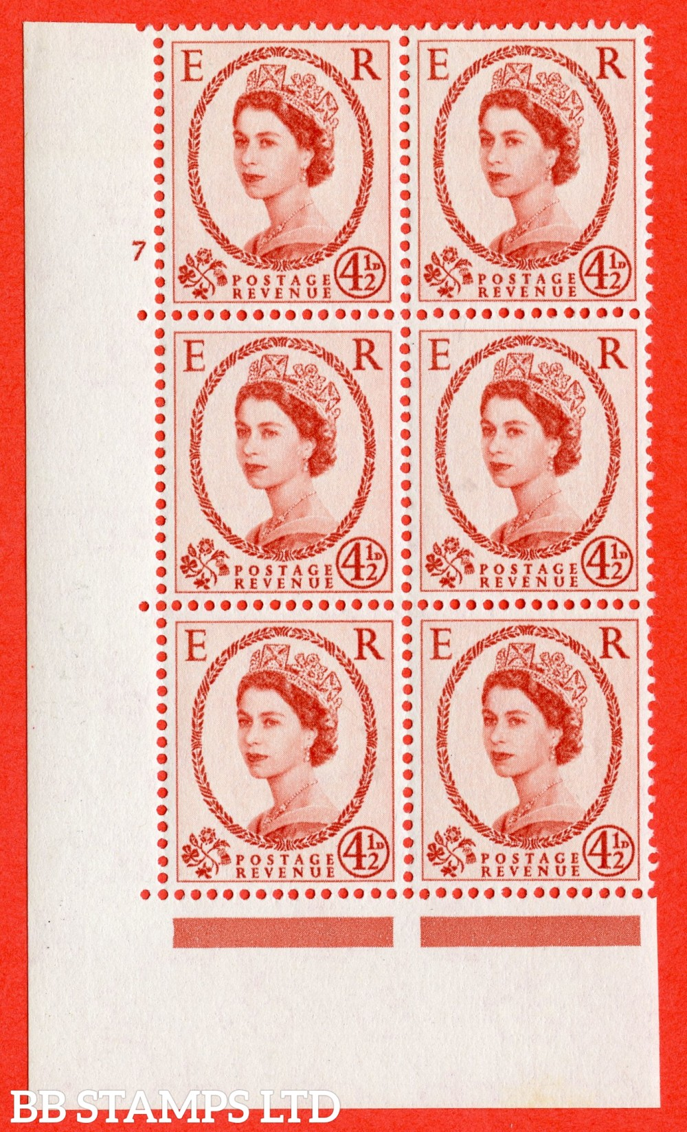"""SG. 577. S94. 5d Chestnut. A superb UNMOUNTED MINT """" cylinder 7 no dot """" control block of 6 with perf type A E/I. WHITE paper."""