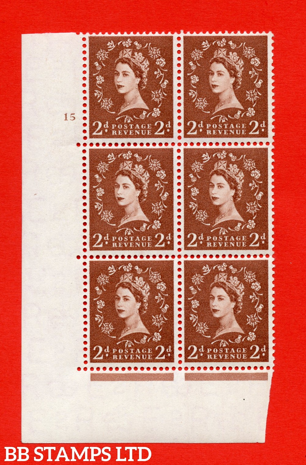 "SG. 543b. S38. 2d. Light Red-brown. A superb UNMOUNTED MINT "" cylinder 15 no dot "" control block of 6 with perf type A E/I."