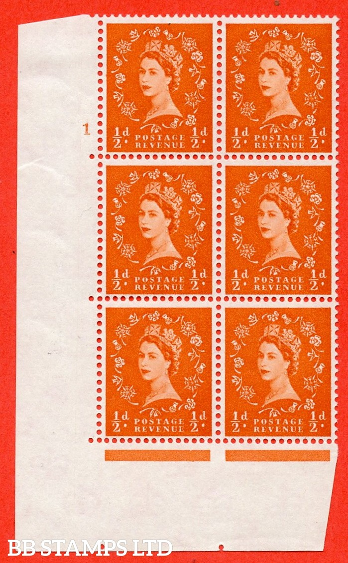 """SG. 570. S5. ½d Orange. A fine lightly mounted mint """" cylinder 1 no dot """" control block of 6 with perf type A E/I. WHITE paper."""