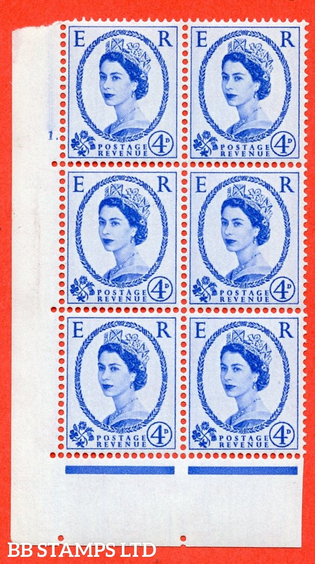 "SG S83. 4d ultramarine  A fine mounted mint "" cylinder 1 dot "" control block of 6 with perf type A (E/I)."