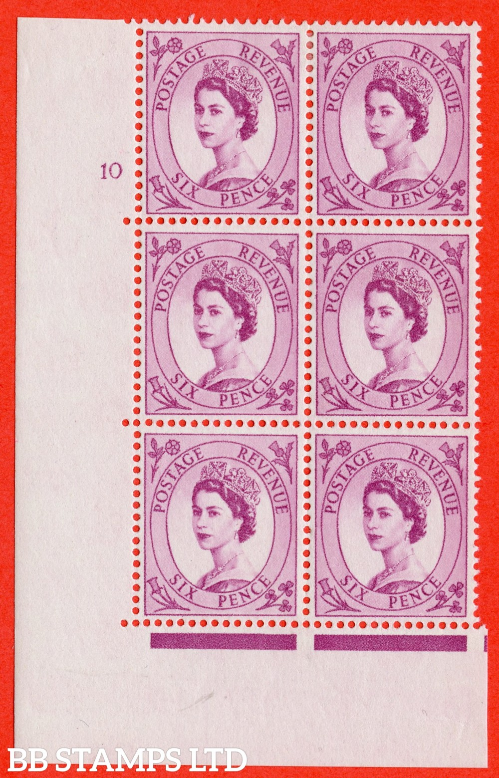 "SG. 579. S108. 6d Purple. A fine lightly mounted mint "" cylinder 10 no dot "" control block of 6 with perf type A E/I. WHITE paper."