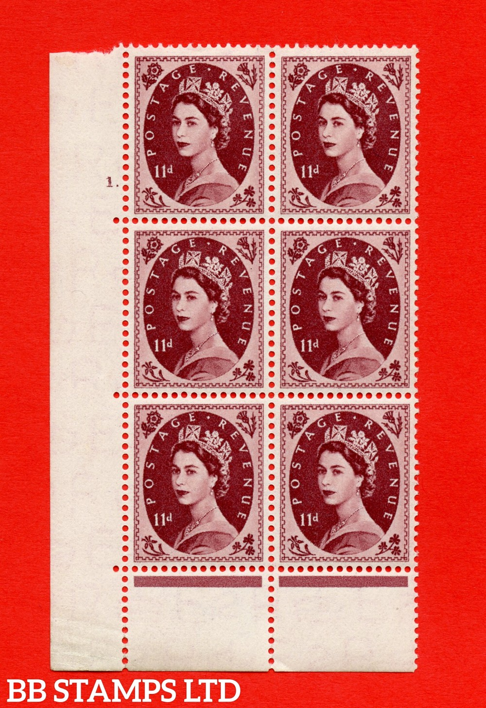 "SG. 528. S134. 11d Brown-purple. A superb UNMOUNTED MINT "" cylinder 1 dot "" control block of 6 with perf type C E/P."
