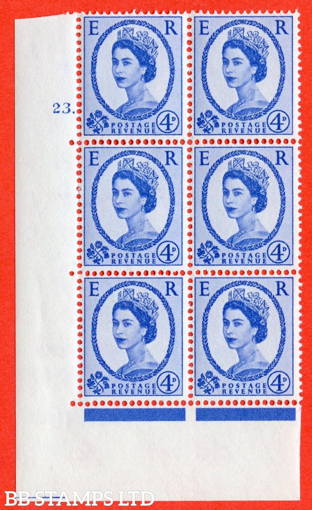 """SG. 576a. S85. 4d Deep Ultramarine. A superb UNMOUNTED MINT """" cylinder 23 dot """" control block of 6 with perf type A E/I. WHITE paper."""