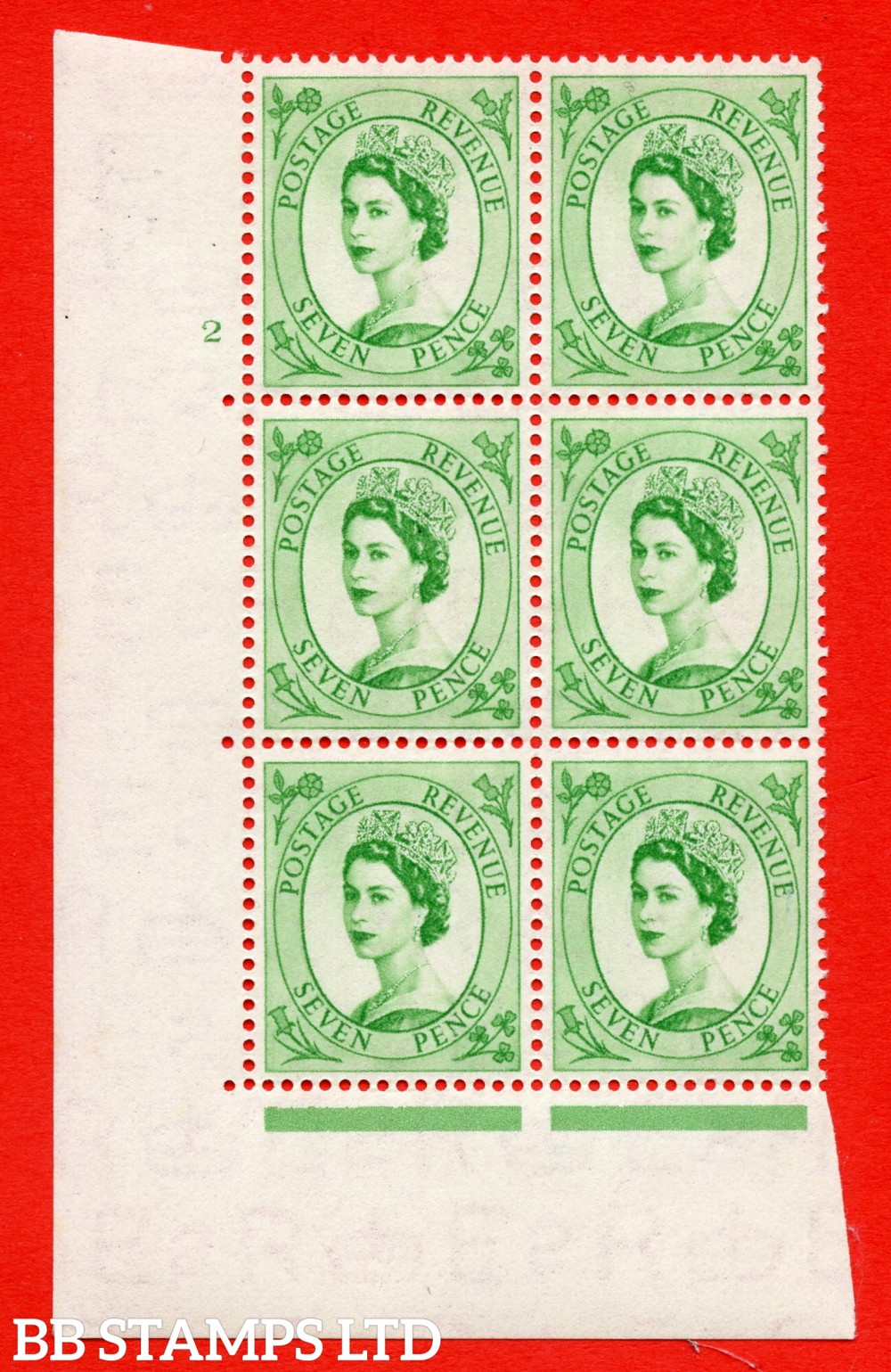 "SG. 524. S114. 7d Bright Green. A superb UNMOUNTED MINT "" cylinder 2 no dot "" control block of 6 with perf type A E/I."