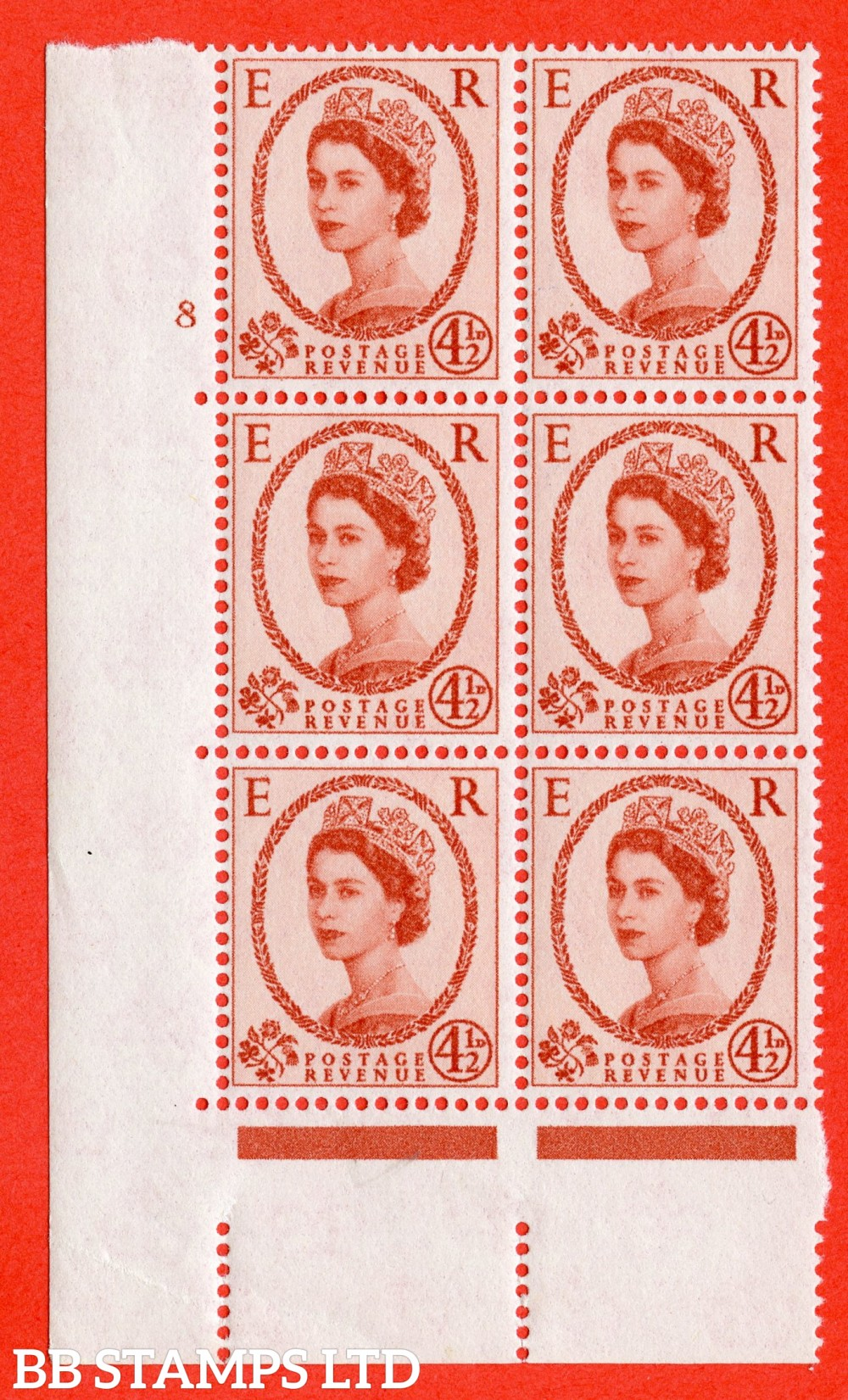 """SG. 577. S94. 5d Chestnut. A superb UNMOUNTED MINT """" cylinder 8 no dot """" control block of 6 with perf type A E/I. WHITE paper."""