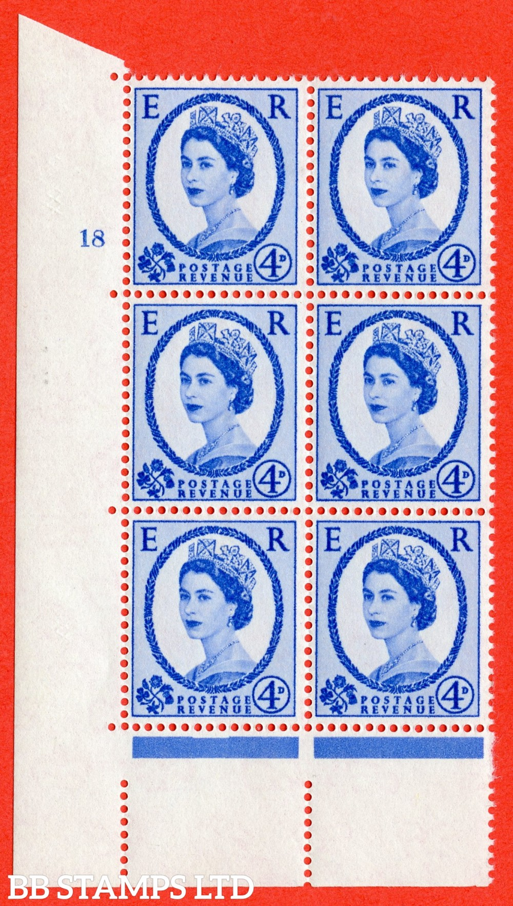 "SG. 576a. S85. 4d Deep Ultramarine. A superb UNMOUNTED MINT "" cylinder 18 no dot "" control block of 6 with perf type A E/I. WHITE paper."