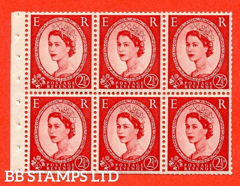SG. 519 L. SB80. 2½d carmine - red. A fine UNMOUNTED MINT. Complete booklet pane of 6. Perf type (Iet) with Trimmed PERFS.