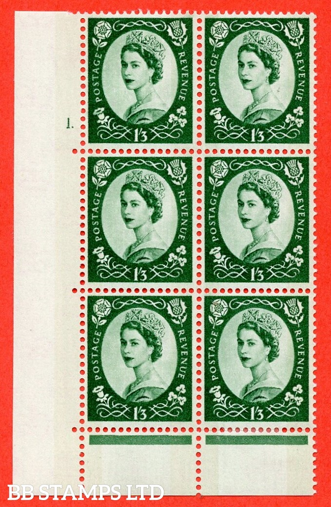 "SG. 618. S145. 1s.3d. Green. A fine mounted mint  "" cylinder 1 dot "" control block of 6 with perf type C (E/P). Green Phosphor."