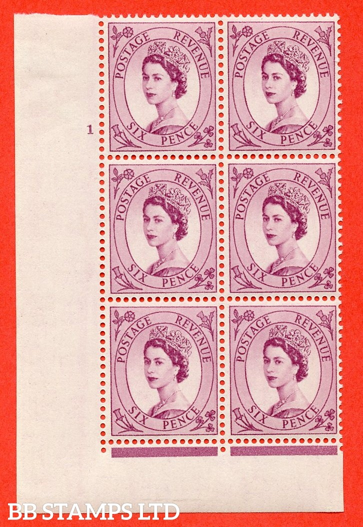 "SG. 523. S104. 6d Purple. A fine lightly mounted mint "" cylinder 1 dot "" control block of 6 with perf type FL I/E."
