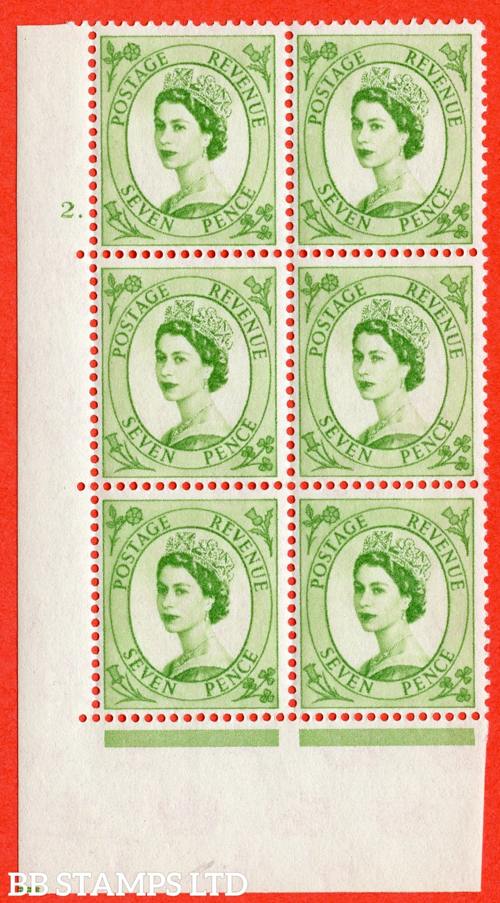 "SG. 580. S117. 7d Bright green. A superb UNMOUNTED MINT "" cylinder 2 dot "" control block of 6 with perf type A E/I. WHITE paper."