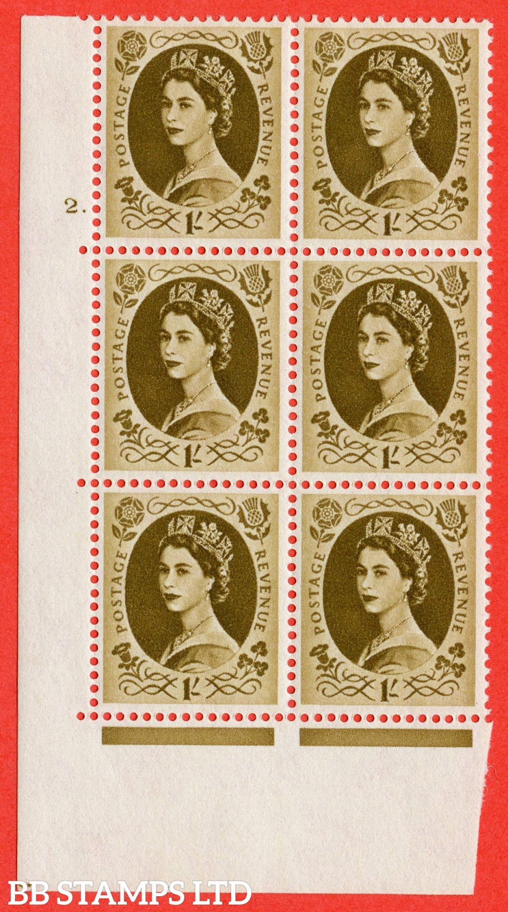 "SG. 584. S139. 1s Bistre-brown. A superb UNMOUNTED MINT "" cylinder 2 dot "" control block of 6 with perf type A E/I. WHITE paper."