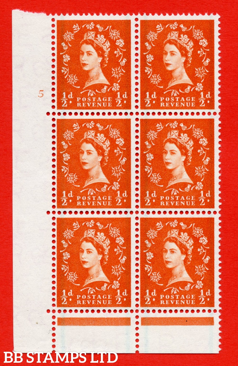 """SG. 561. S3. ½d Orange - Red. A superb UNMOUNTED MINT """" cylinder 5 no dot """" control block of 6 with perf type C E/P."""