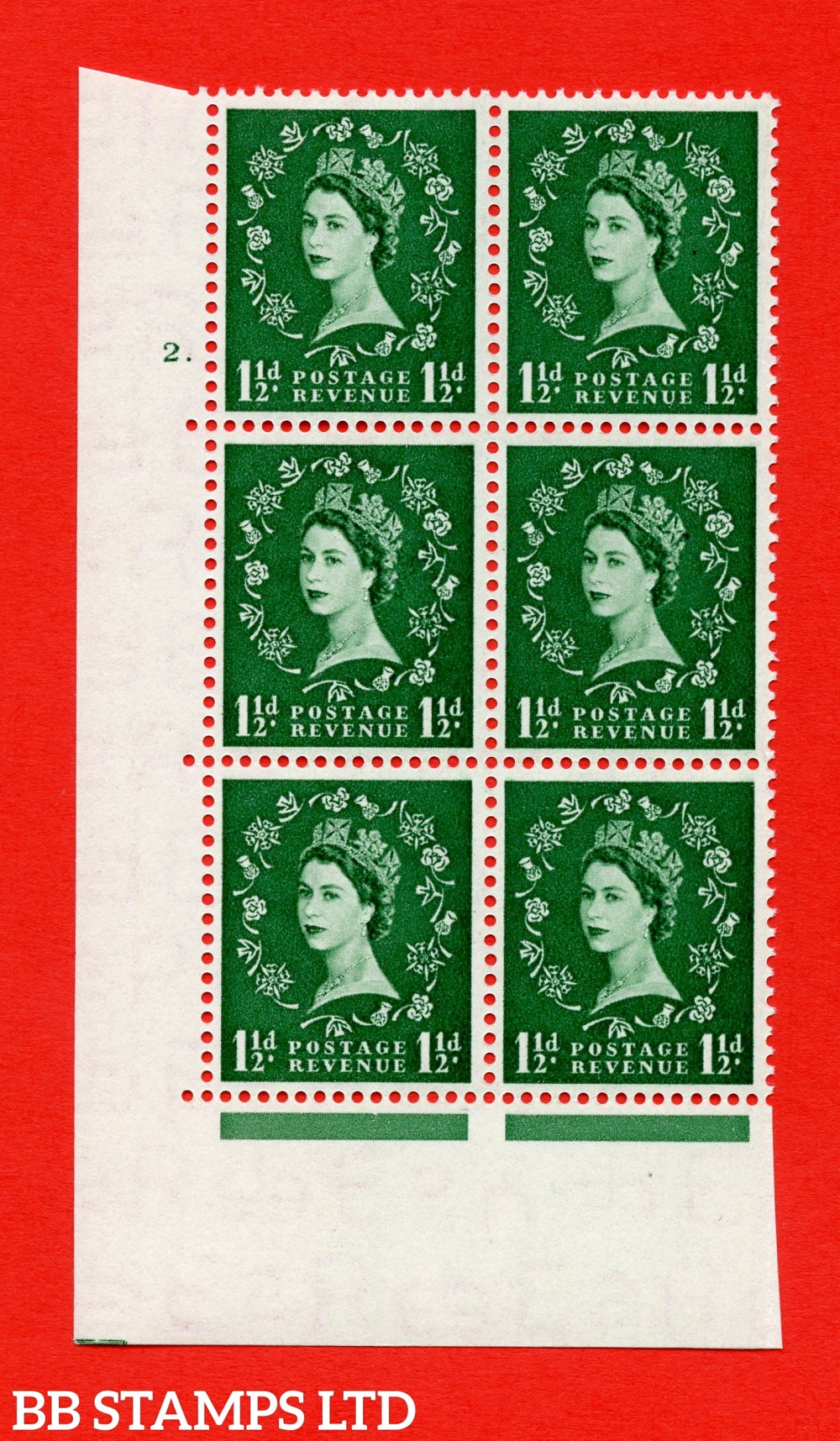 "SG. 517. S25. 1½d Green. A superb UNMOUNTED MINT "" cylinder 2 dot "" control block of 6 with perf type A E/I."