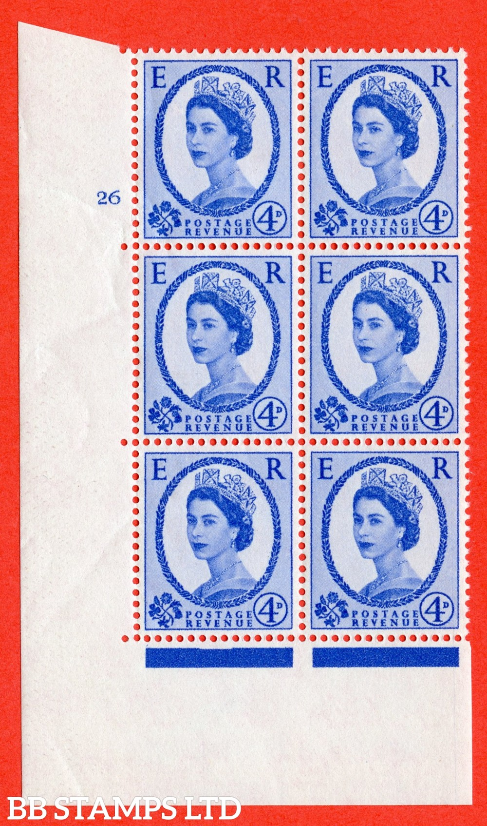 "SG. 576a. S85. 4d Deep Ultramarine. A fine lightly mounted mint "" cylinder 26 no dot "" control block of 6 with perf type A E/I. WHITE paper."