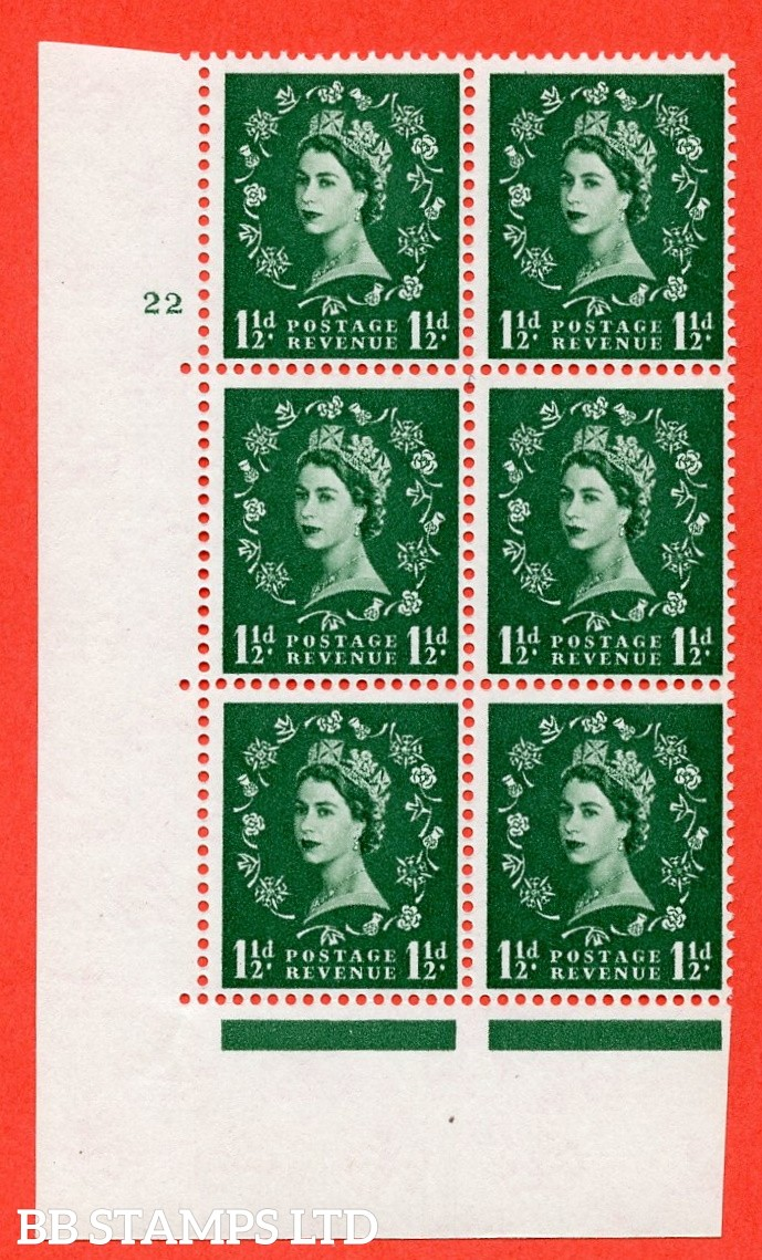 """SG. 572. S29. 1½d Green. A superb UNMOUNTED MINT """" cylinder 22 no dot """" control block of 6 with perf type A E/I. WHITE paper."""