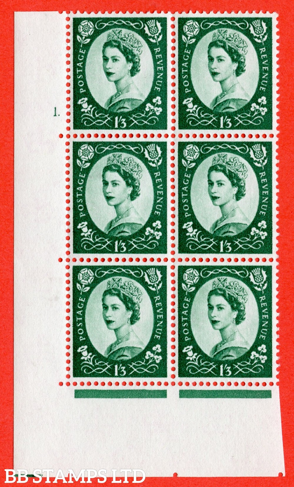 "SG. 585. S144. 1s 3d. Green. A superb UNMOUNTED MINT "" cylinder 1 dot "" control block of 6 with perf type A E/I. WHITE paper."