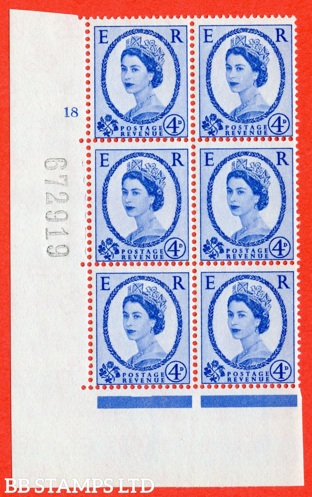 "SG. 576a. S85. 4d Deep Ultramarine. A fine lightly mounted mint "" cylinder 18 no dot "" control block of 6 with perf type A E/I. WHITE paper."