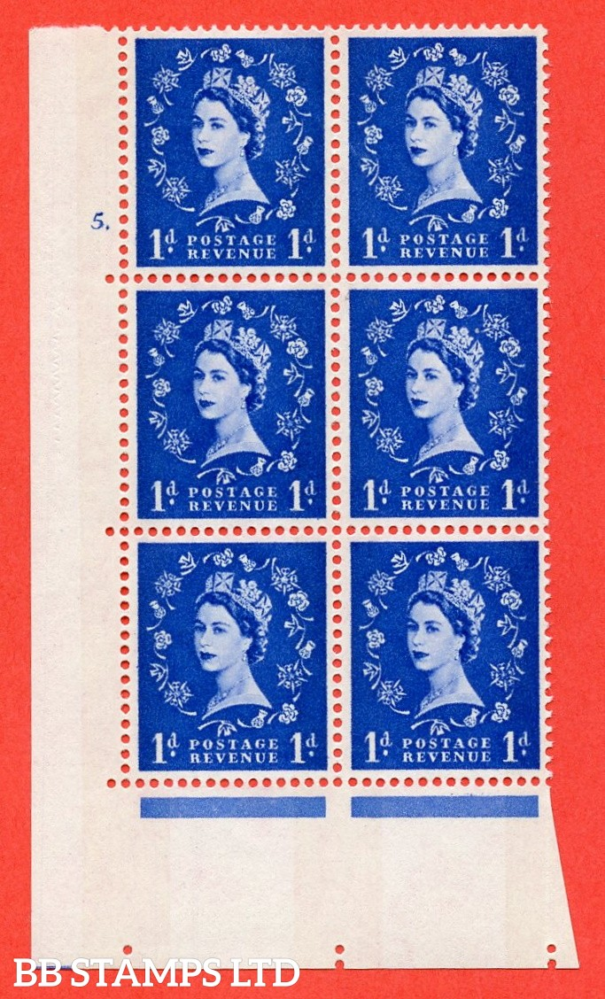 """SG.611. S23b. 1d Ultramarine. Photo. A superb UNMOUNTED MINT """" cylinder 5 dot """" control block of 6 with perf type A (E/I). violet Phosphor 8mm Band."""