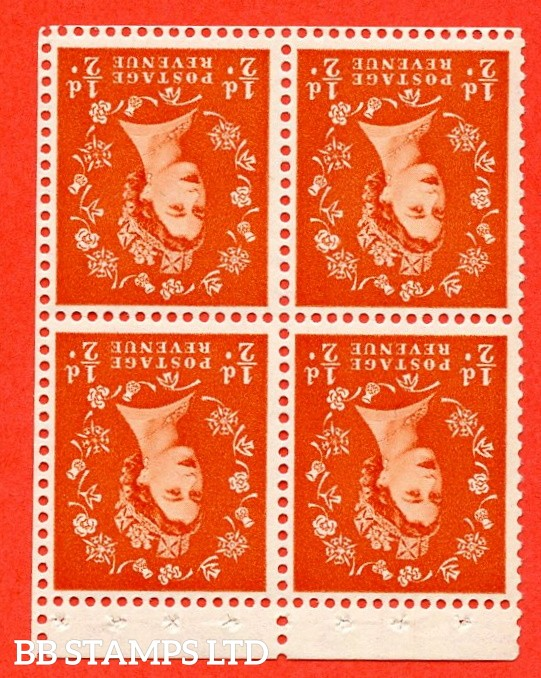 SG. 515mwi. S2. ½d Orange-Red. A fine UNMOUNTED MINT. WATERMARK INVERTED complete control block of 4 with perf type P. Good perfs.