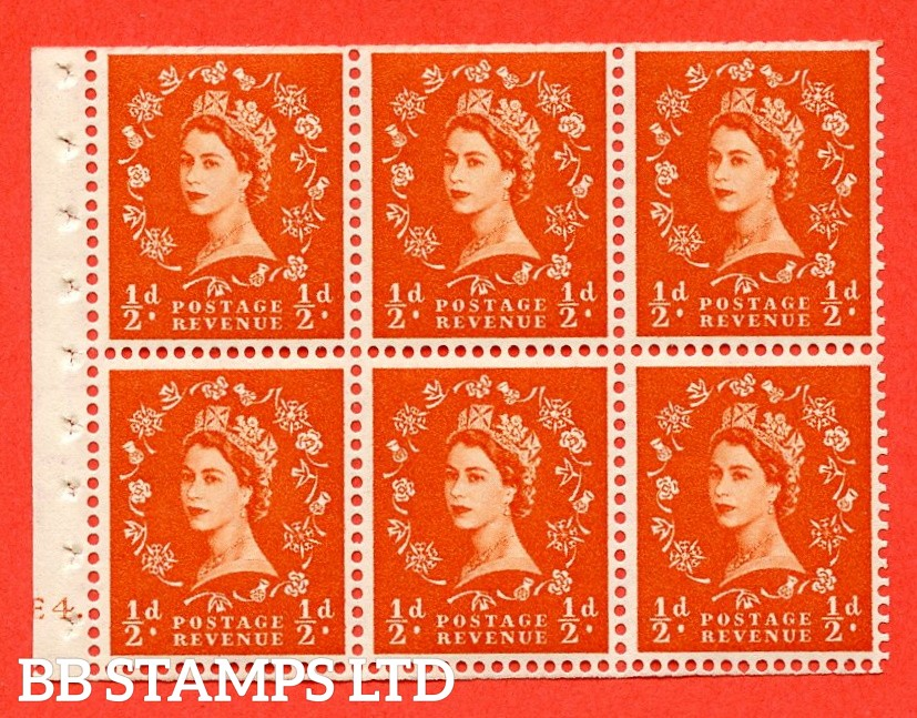 """SG. 515. SB1. ½d orange - red. A fine UNMOUNTED MINT cylinder """" E4 dot """" booklet pane of 6. Perf type (Ieb) with TRIMMED PERFS. Smooth edge."""