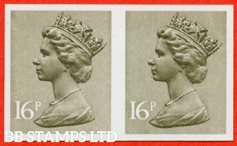SG. X949 a. 16p Olive Drab. IMPERF. A fine UNMOUNTED MINT horizontal pair of this decimal machin ERROR.