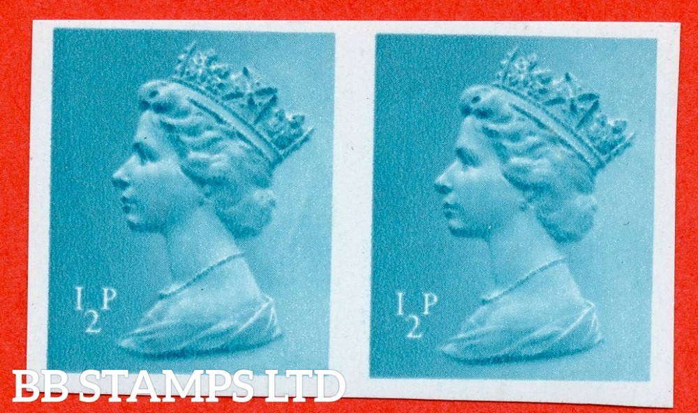 """SG. X924a. ½p turquoise - blue. A superb UNMOUNTED MINT """" IMPERF """" error horizontal pair."""