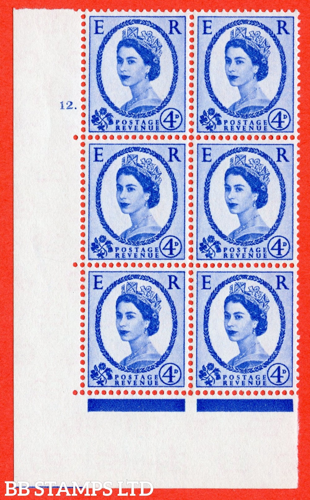 "SG. 576a. S85. 4d Deep Ultramarine. A superb UNMOUNTED MINT "" cylinder 12 dot "" control block of 6 with perf type A E/I. WHITE paper."