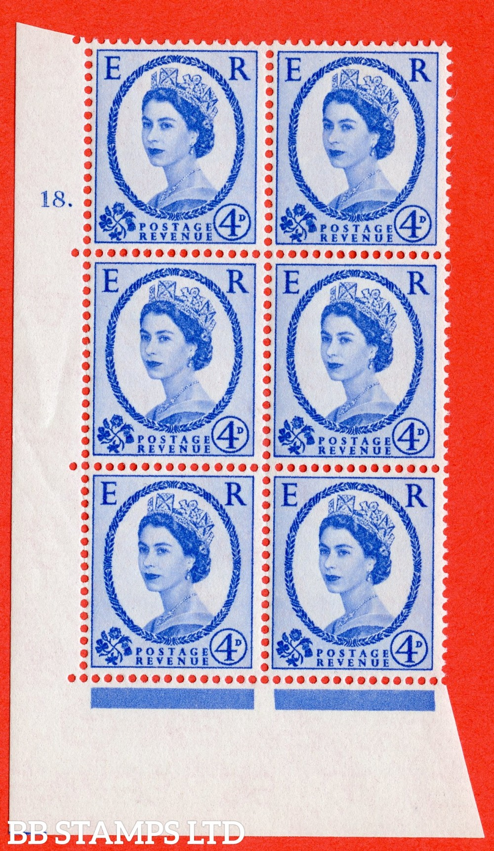 "SG. 576a. S85. 4d Deep Ultramarine. A fine lightly mounted mint "" cylinder 18 dot "" control block of 6 with perf type A E/I. WHITE paper."