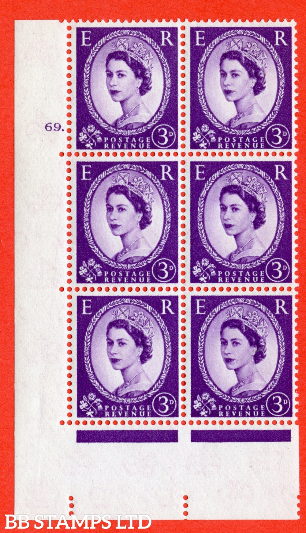 "SG. 575. S71. 3d Deep Lilac. A superb UNMOUNTED MINT "" cylinder 69 dot "" control block of 6 with perf type A E/I. WHITE paper."