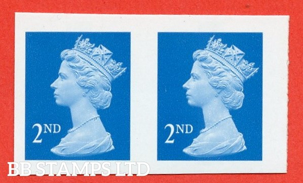 SG. 2039ab. 2nd bright blue. IMPERF ERROR. A very fine UNMOUNTED MINT horizontal pair of this listed imperf pair ( 4mm gap between stamps from 2000 ) variety.