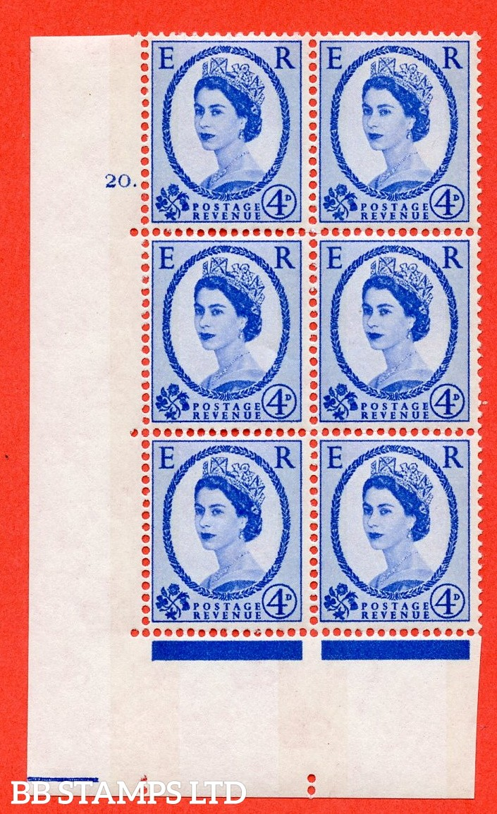 """SG.616a. S91. 4d Deep Ultramarine. A fine mounted mint """" cylinder 20 dot """" control block of 6 with perf type A (E/I). violet Phosphor 8mm Band."""