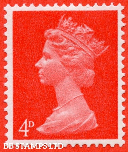 "SG. 734 eba. 4d bright vermilion. Right Band. "" UNCOATED PAPER "". A super UNMOUNTED MINT example of this scarce QEII variety."