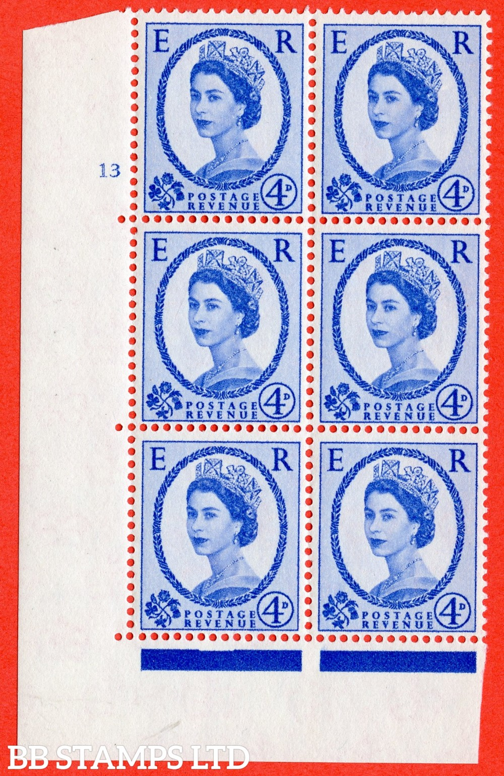 """SG. 576a. S85. 4d Deep Ultramarine. A superb UNMOUNTED MINT """" cylinder 13 no dot """" control block of 6 with perf type A E/I. WHITE paper."""