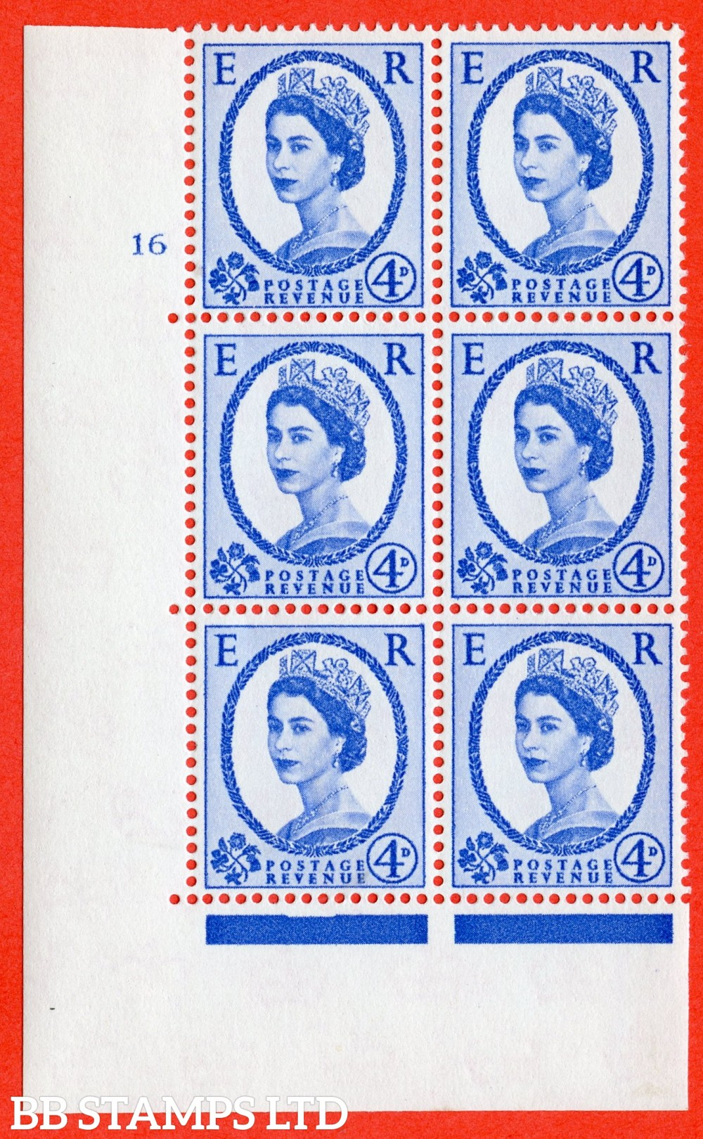 "SG. 576a. S85. 4d Deep Ultramarine. A superb UNMOUNTED MINT "" cylinder 16 No dot "" control block of 6 with perf type A E/I. WHITE paper."