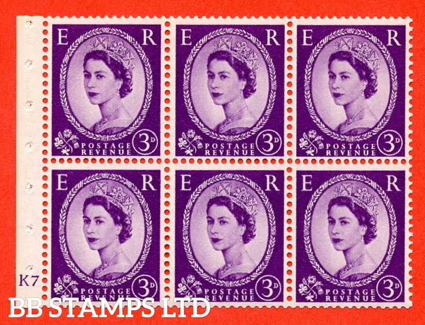"SG. 545. SB90. 3d Deep Lilac. A fine UNMOUNTED MINT cylinder "" K7 no dot "" booklet pane of 6. Perf type (I) with GOOD PERFS. Smooth edge."