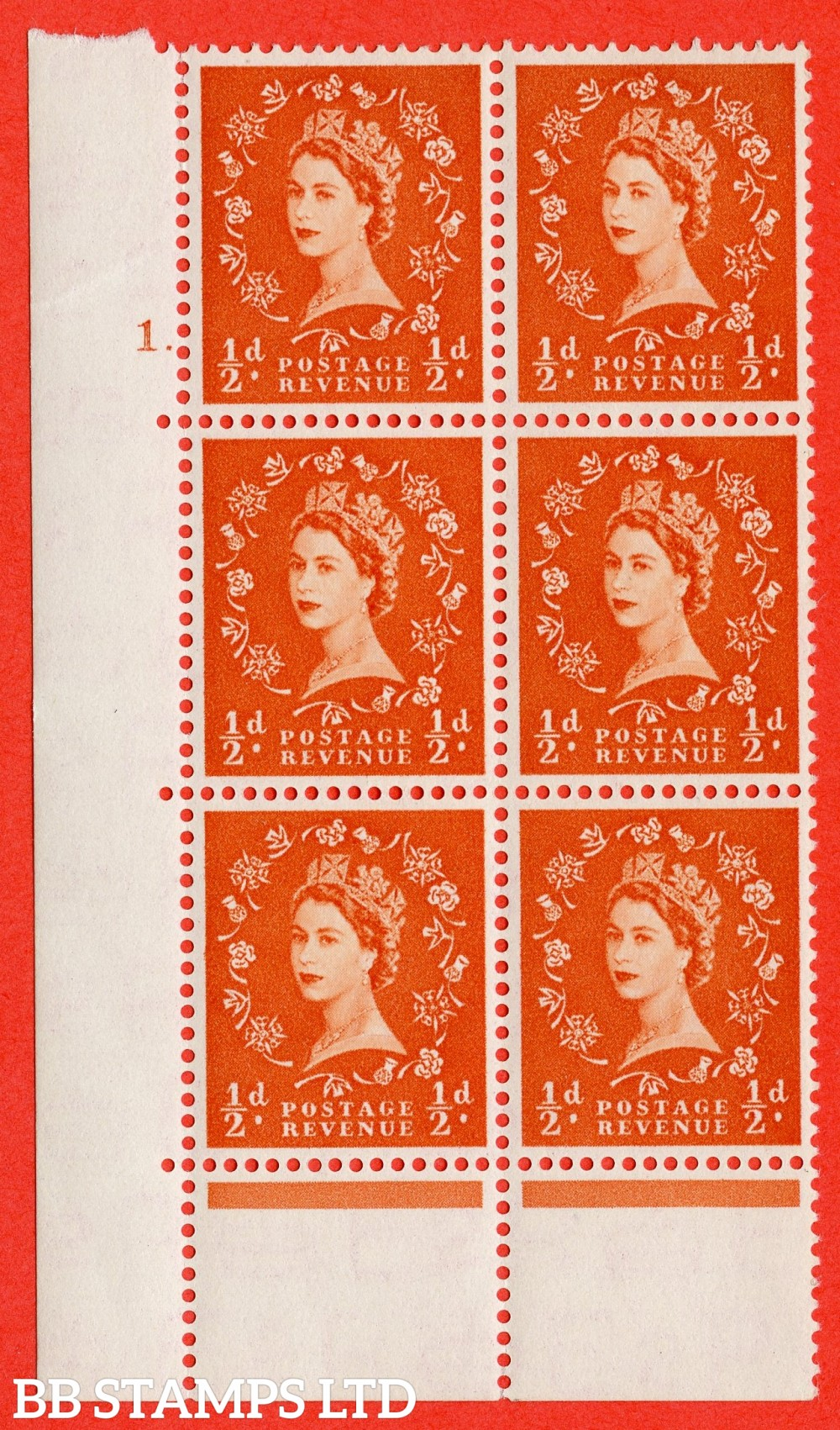 """SG. 515. S1. ½d Orange-Red. A superb UNMOUNTED MINT. """" cylinder 1 dot """" control block of 6 with perf type C E/P."""