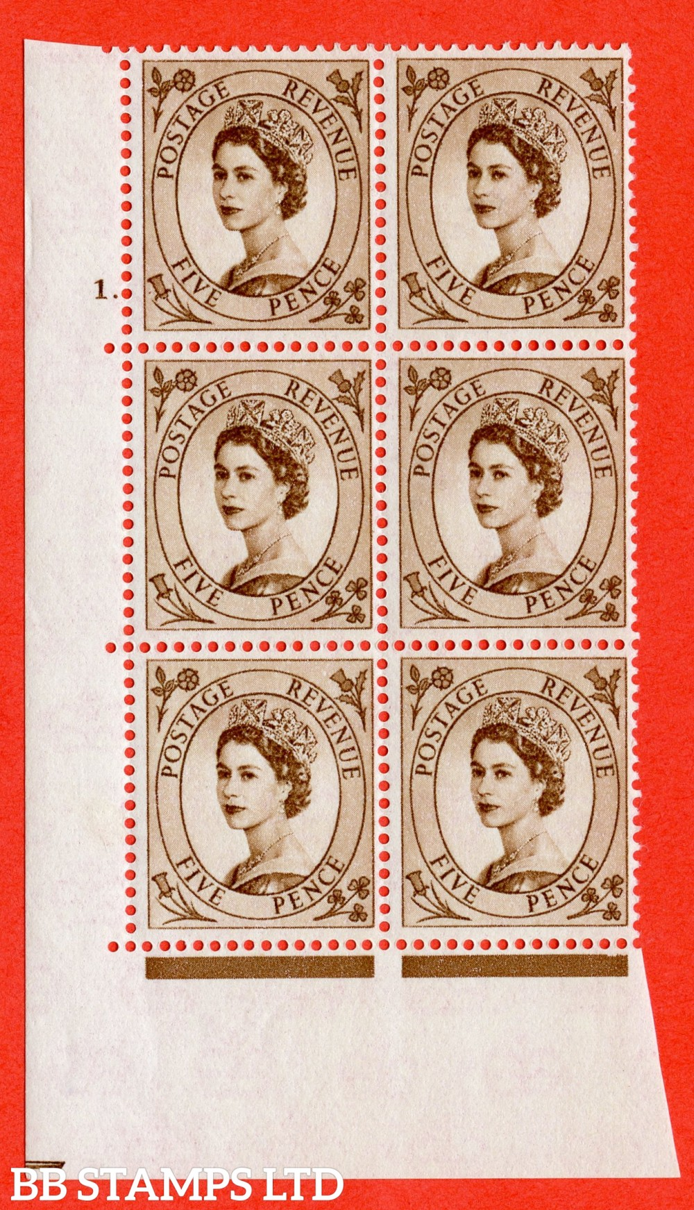 """SG. 578. S102. 5d Brown. A fine lightly mounted mint """" cylinder 1 dot """" control block of 6 with perf type A E/I. WHITE paper."""