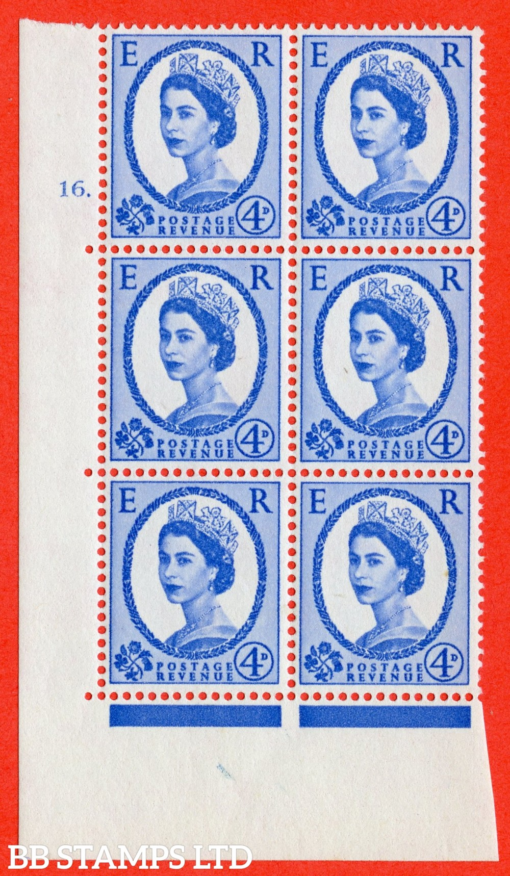 """SG. 576a. S85. 4d Deep Ultramarine. A superb UNMOUNTED MINT """" cylinder 16 dot """" control block of 6 with perf type A E/I. WHITE paper."""