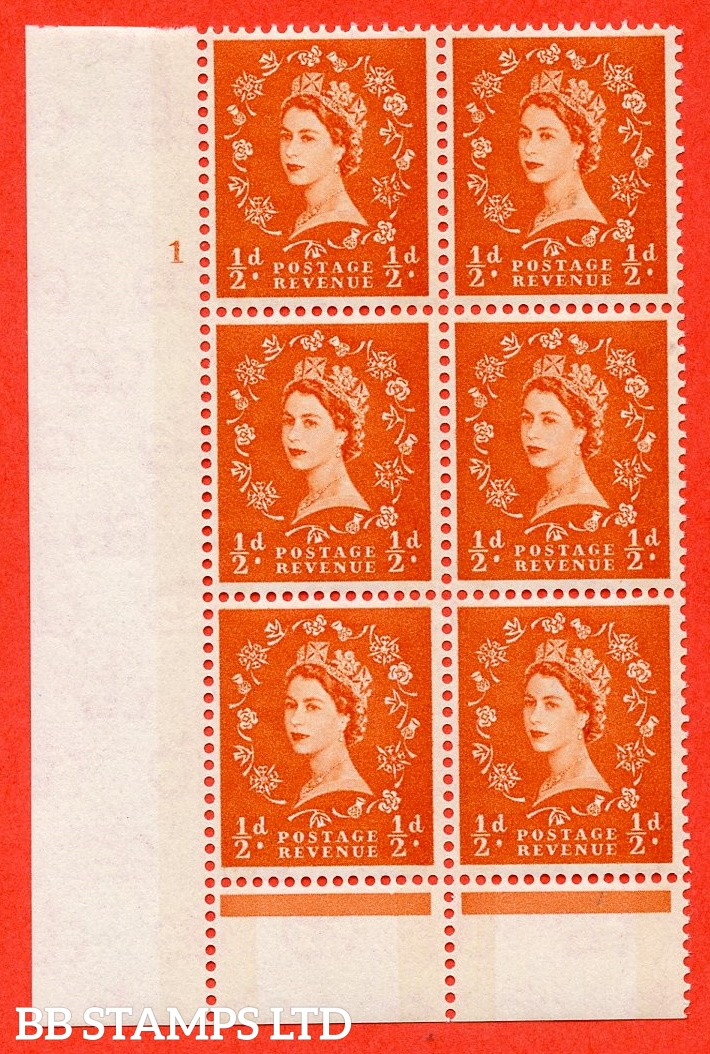 """SG. 610. S9. ½d orange - red. A fine mounted mint """" cylinder 1 no dot """" control block of 6 with perf type B (I/P). Green Phosphor."""