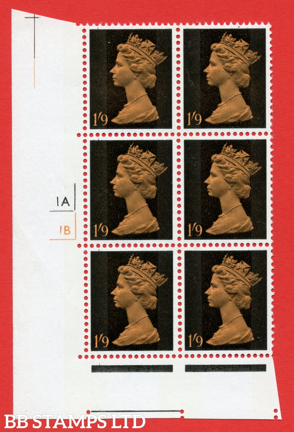 "SG. 744. U30. 1/9 brightl orange and black  A superb UNMOUNTED MINT "" cylinder 1a 1b no dot "" control block of 6 with perf type A (E/I). gum arabic. Head A."
