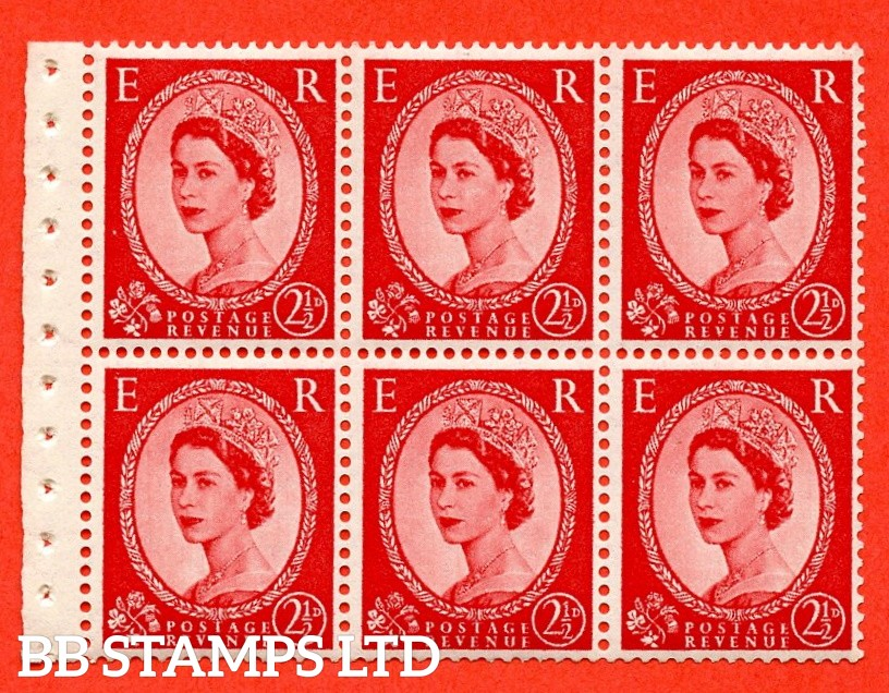 SG. 519L. SB80. 2½d carmine - red. A fine UNMOUNTED MINT. Complete booklet pane of 6. Perf type (IR) with Good PERFS.