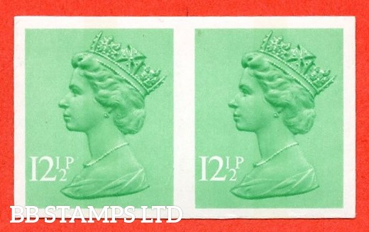 SG. X898a. 1982.12½p Light Emerald. IMPERF. A fine UNMOUNTED MINT horizontal pair of this decimal machin ERROR.