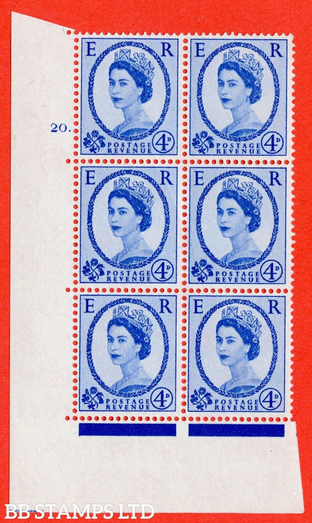 "SG. 576a. S85. 4d Deep Ultramarine. A superb UNMOUNTED MINT "" cylinder 20 dot "" control block of 6 with perf type A E/I. WHITE paper."