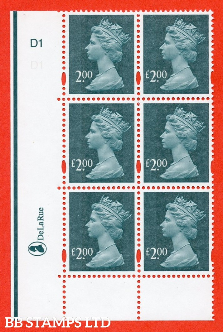 "SG. Y1747a. £2.00 deep blue green. A superb UNMOUNTED MINT cylinder "" D1 no dot "" block of 6 with the listed variety "" MISSING £ IN VALUE. Row 18/1. Cylinder D1 no stop ""."