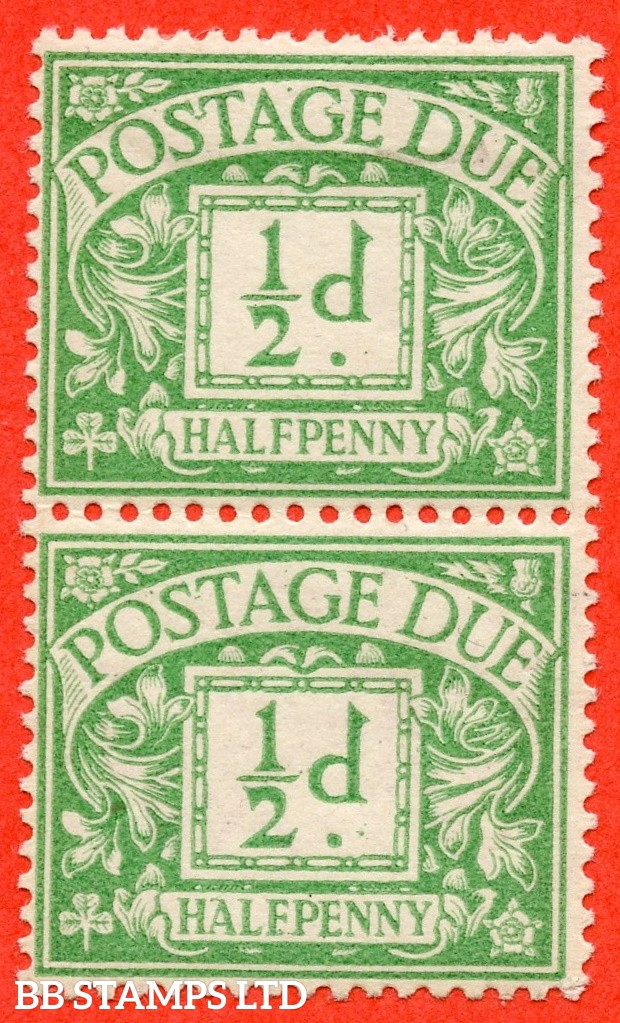 "SG. D1 wj. R1 b & d. ½d emerald. A mounted mint vertical pair with the top stamp having the RARE "" NO WATERMARK "" variety. Bottom stamp has SIDEWAYS & REVERSED watermark. A RARE postage due variety."